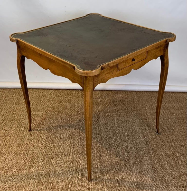 Fruitwood Diminutive Leather Topped Games Table For Sale