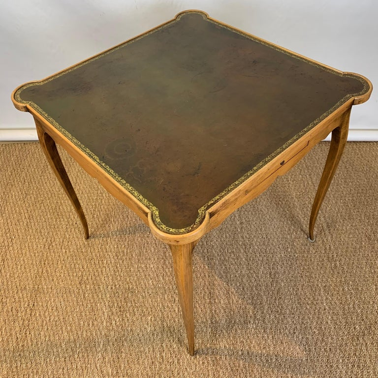Diminutive Leather Topped Games Table For Sale 1