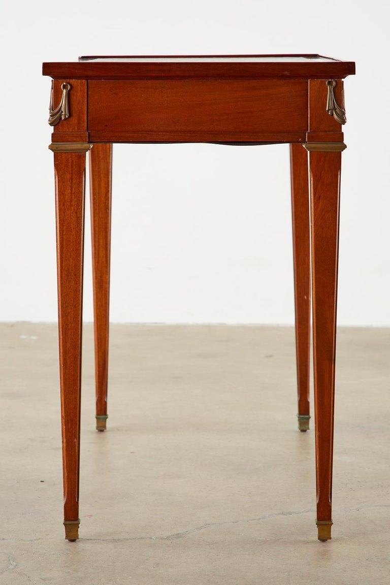 Argentine Diminutive Maison Jansen Mahogany Bronze Mounted Writing Desk For Sale