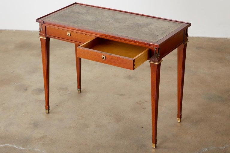 Diminutive Maison Jansen Mahogany Bronze Mounted Writing Desk In Good Condition For Sale In Rio Vista, CA
