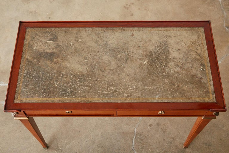 Diminutive Maison Jansen Mahogany Bronze Mounted Writing Desk For Sale 1
