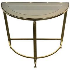 Diminutive Maison Jansen Style Brass Demilune Drinks/ Side Table