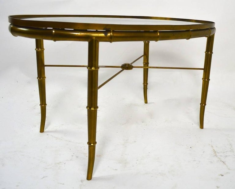 Diminutive Oval Brass and Glass Coffee Table by Mastercraft For Sale 1