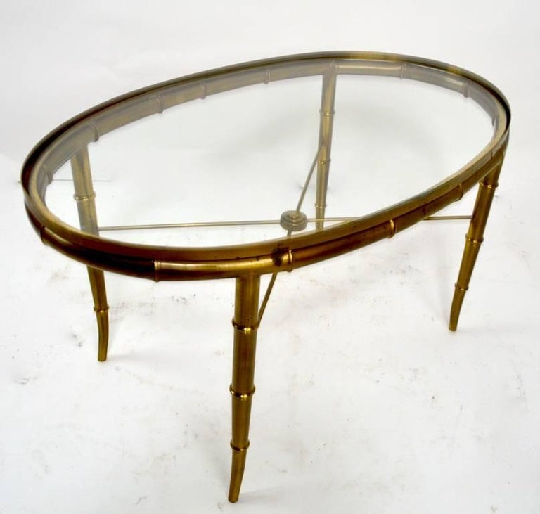 Diminutive Oval Brass and Glass Coffee Table by Mastercraft For Sale 2