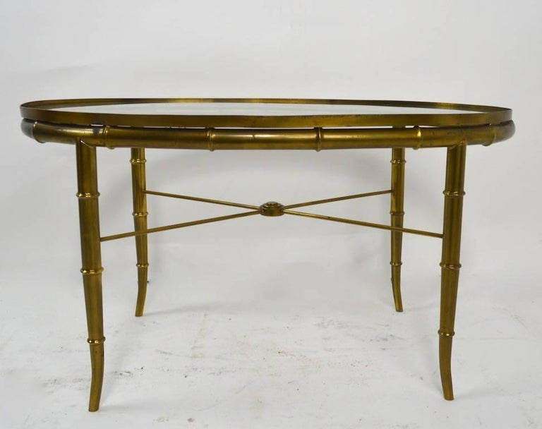 Diminutive Oval Brass and Glass Coffee Table by Mastercraft For Sale 3
