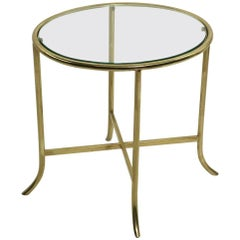 Diminutive Oval Brass and Glass Table in the Style of Cedric Hartman