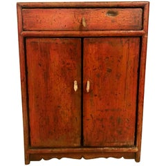 Diminutive Painted Rustic Cabinet, Stand or Chest with a Single-Drawer