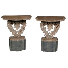 Diminutive Pair of Baroque Style Carved Wood Consoles