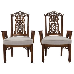 Diminutive Pair of Carved Chinese Armchairs