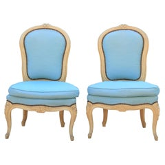 Diminutive Pair of French Carved Painted Wood Slipper Chairs