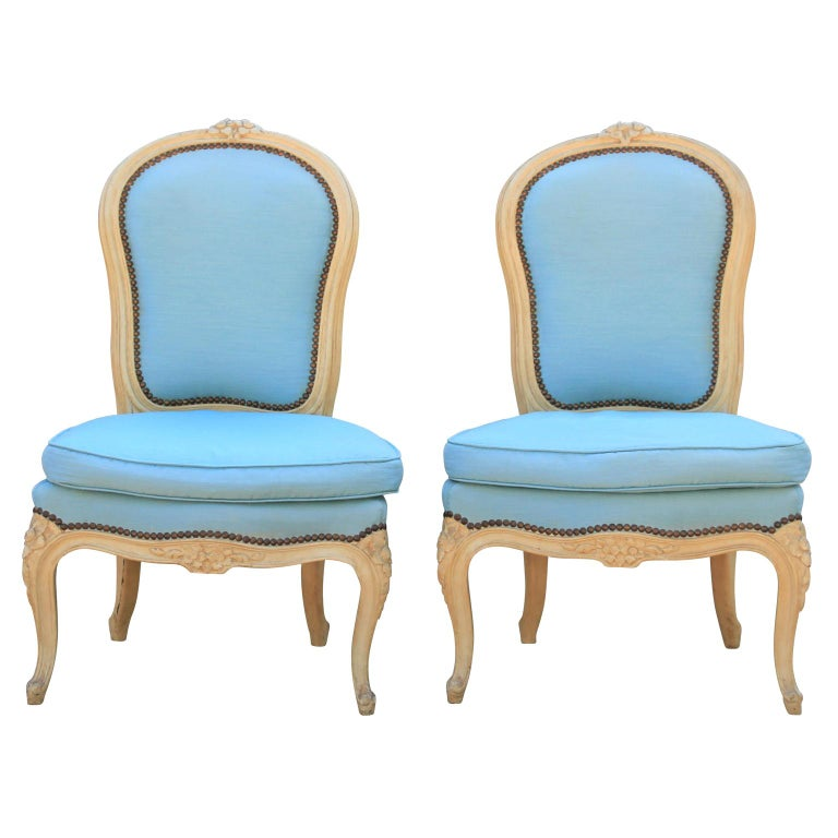 Diminutive Pair of French Carved Painted Wood Slipper Chairs For Sale