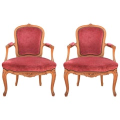 Diminutive Pair of French Louis Style Armchairs