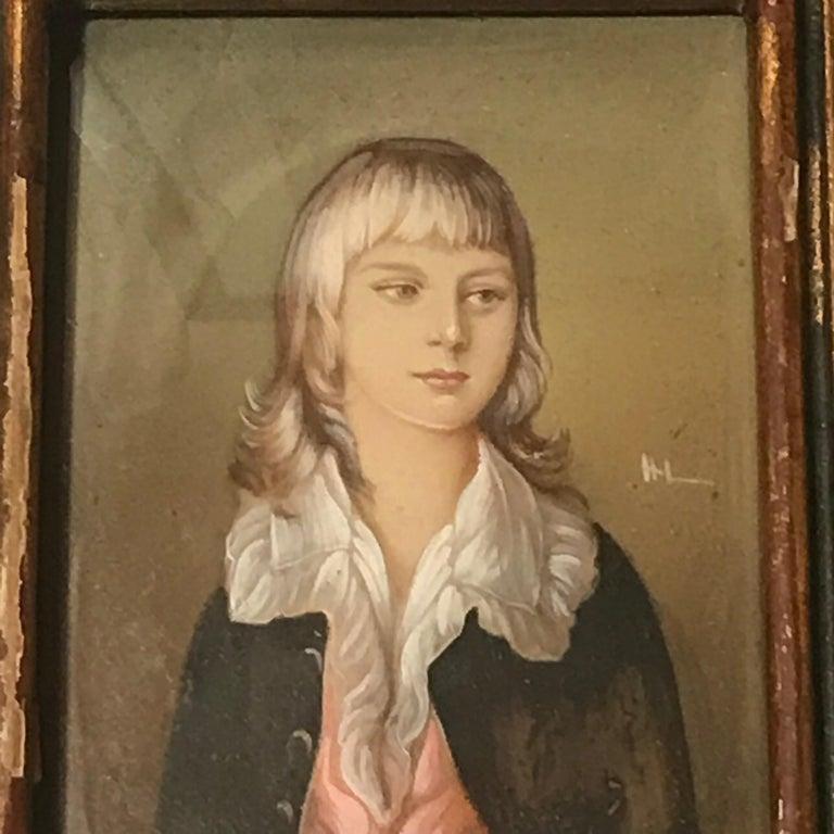 Diminutive portrait painting Continental, mid-20th century, porcelain, metal frame.