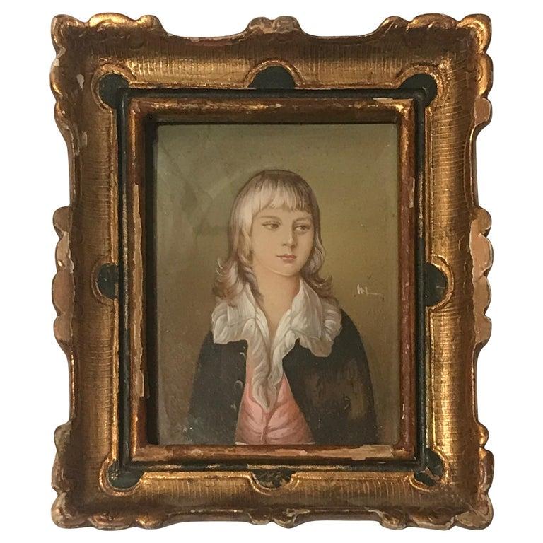 Diminutive Portrait Painting 'B' For Sale