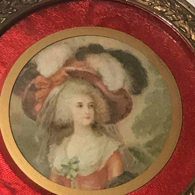 French Diminutive Portrait Painting Lidded Box For Sale