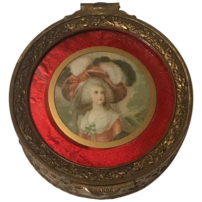 Diminutive Portrait Painting Lidded Box For Sale