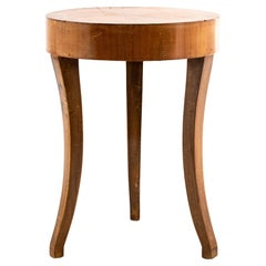 Diminutive Round Side Table with Inlay Top