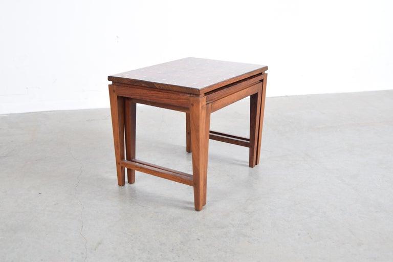 Mid-Century Modern Diminutive Set of Nesting Tables by Leela Shiveshwarkar For Sale