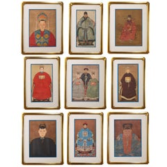 Diminutive Set of Nine Framed Chinese Ancestoral Portraits