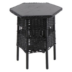 Diminutive Wicker Table in Black Paint Finish Attributed to Haywood Wakefield