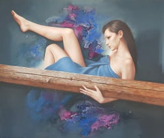 Piece Of Wood - Oil Acrylic Figurative Painting Ivory Purple Blue White Brown