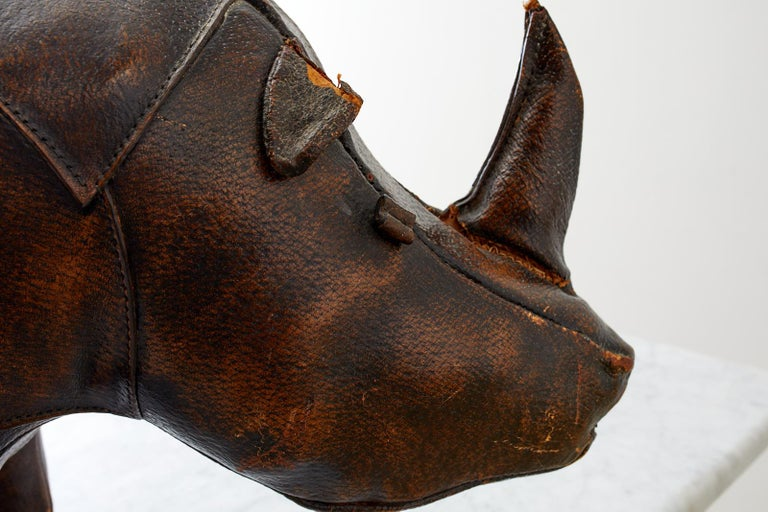 Dimitri Omersa for Abercrombie Leather Rhino Footstool For Sale 4