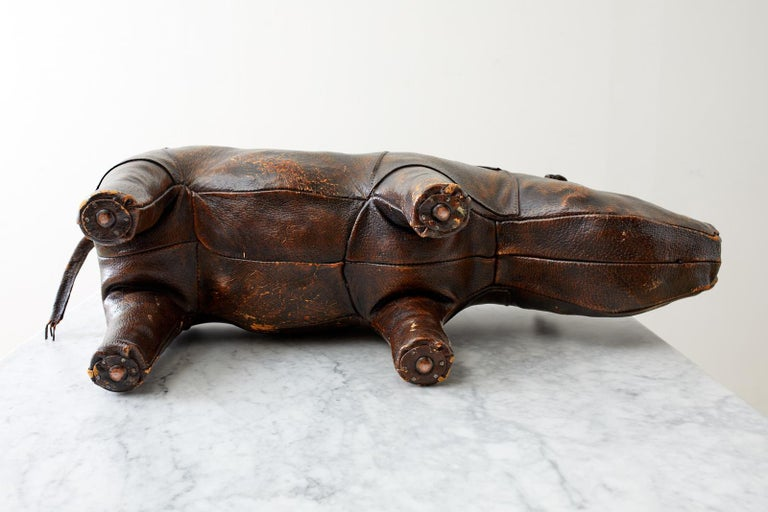 Dimitri Omersa for Abercrombie Leather Rhino Footstool For Sale 7