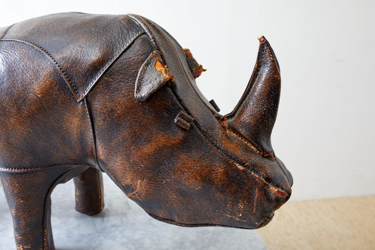 Dimitri Omersa for Abercrombie Leather Rhino Footstool In Distressed Condition For Sale In Oakland, CA
