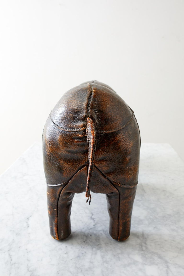 Dimitri Omersa for Abercrombie Leather Rhino Footstool For Sale 2