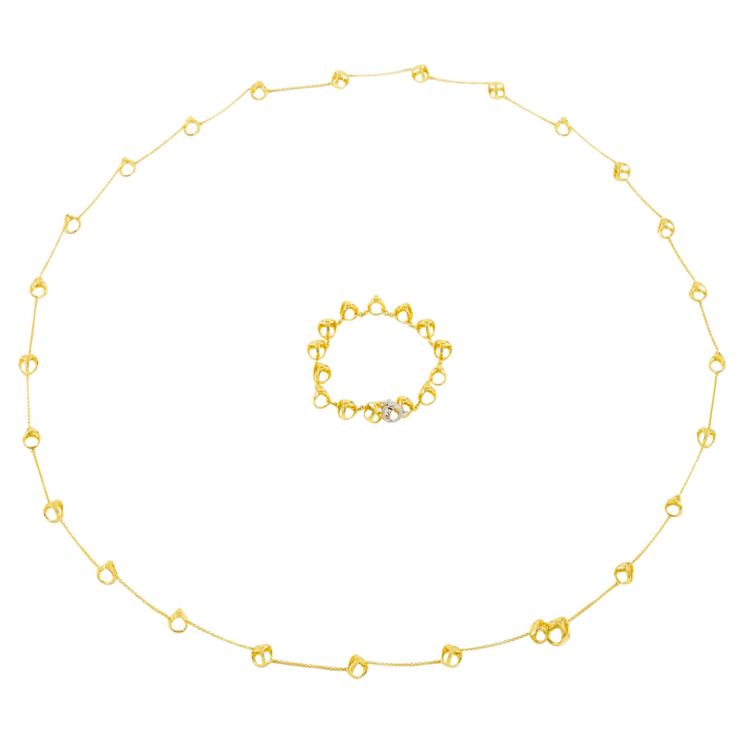 DiModolo Italian 18k Gold and Diamond Necklace and Bracelet