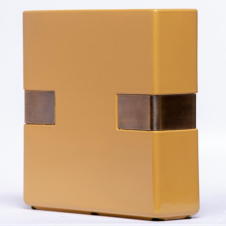 Dimorestudio for Bitossi Ceramic Matte Gold and Brass Vase In New Condition For Sale In Troy, MI