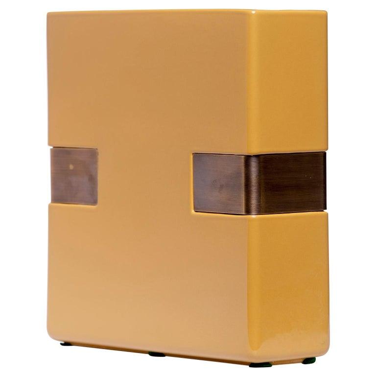 Dimorestudio for Bitossi Ceramic Matte Gold and Brass Vase For Sale