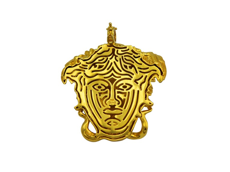 Women's Dimos 18k Gold Ancient Greek Medusa Pendant with Diamonds For Sale