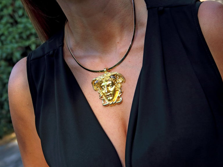 Dimos 18k Gold Ancient Greek Medusa Pendant with Diamonds For Sale 2