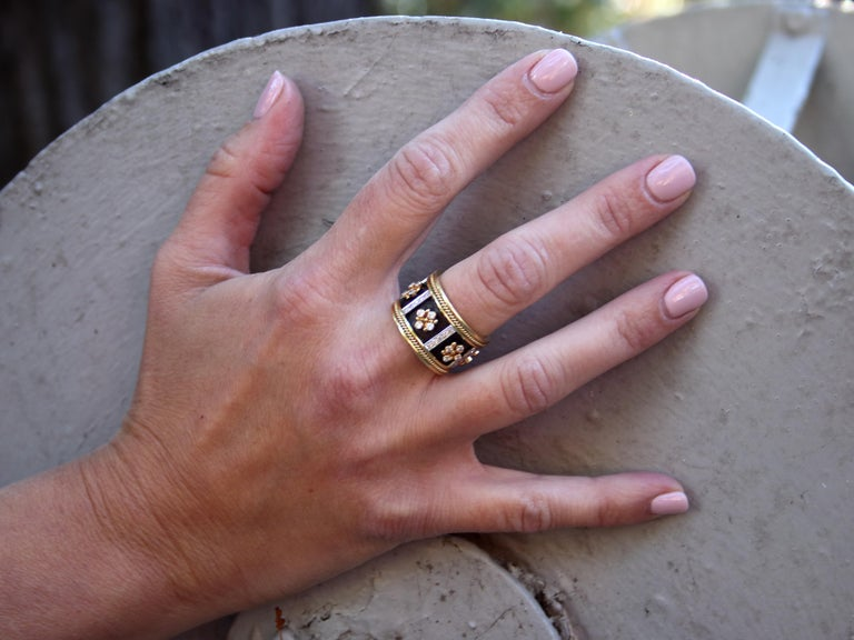 Dimos 18k Gold Byzantine Band Ring with Brilliant Diamonds For Sale 5