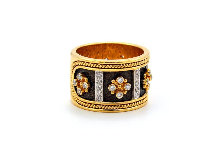 Brilliant Cut Dimos 18k Gold Byzantine Band Ring with Brilliant Diamonds For Sale