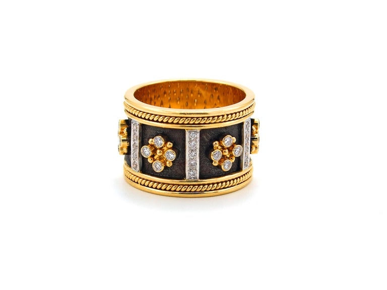 Dimos 18k Gold Byzantine Band Ring with Brilliant Diamonds In New Condition For Sale In Athens, GR