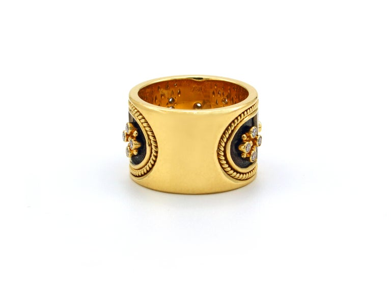 Dimos 18k Gold Byzantine Band Ring with Brilliant Diamonds For Sale 1