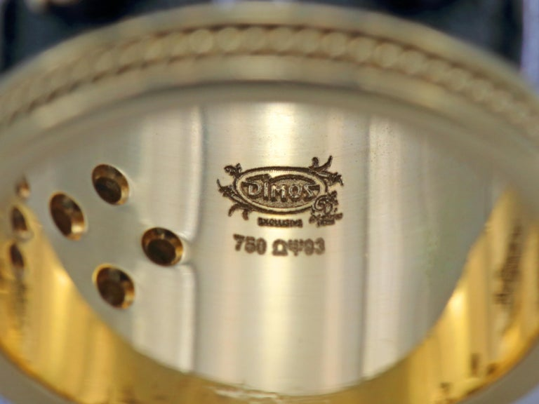 Dimos 18k Gold Byzantine Band Ring with Brilliant Diamonds For Sale 2
