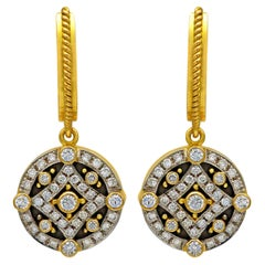 Dimos 18k Gold Byzantine Dangle Earrings with Brilliant Diamonds