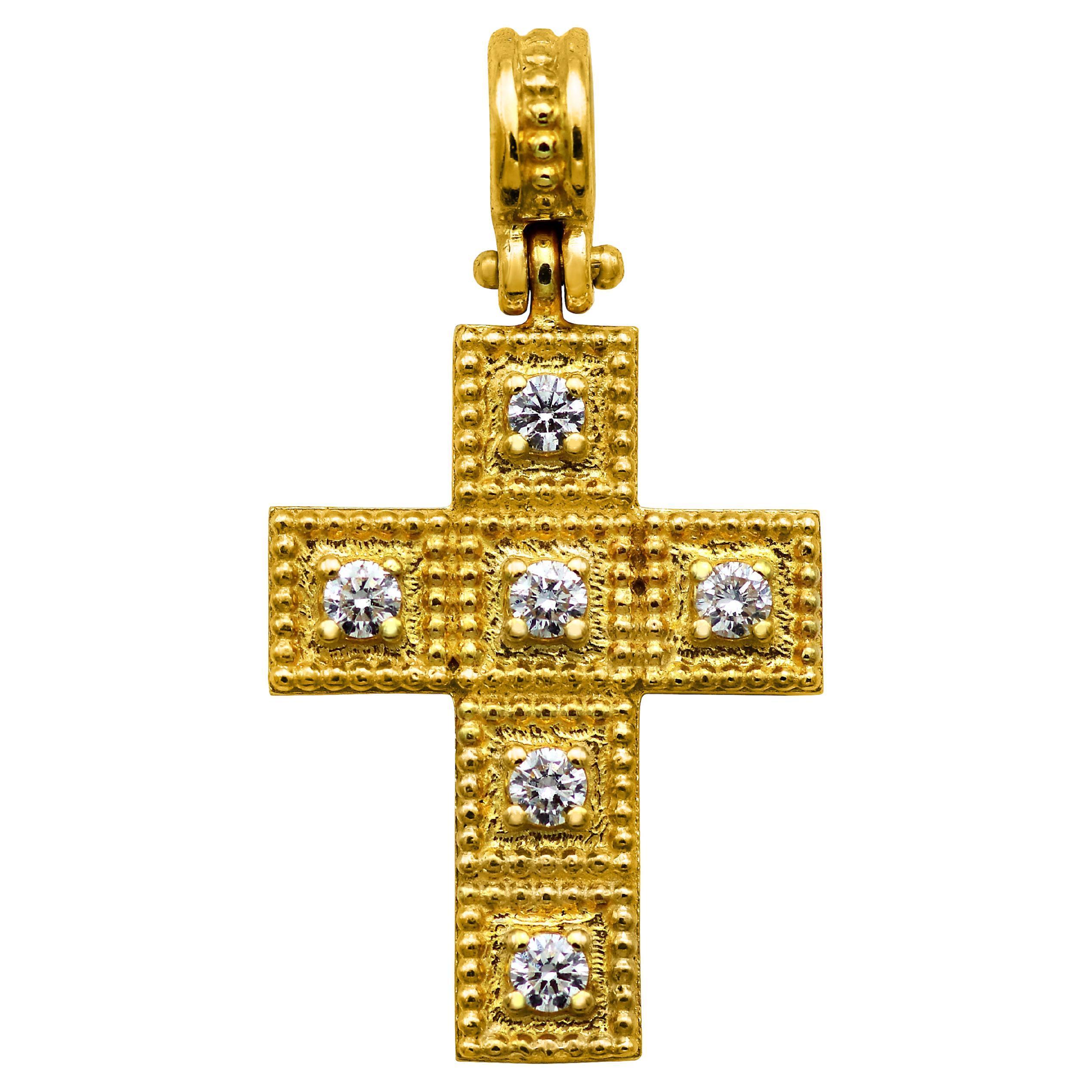 Dimos 18k Gold Cross Pendant with Diamonds