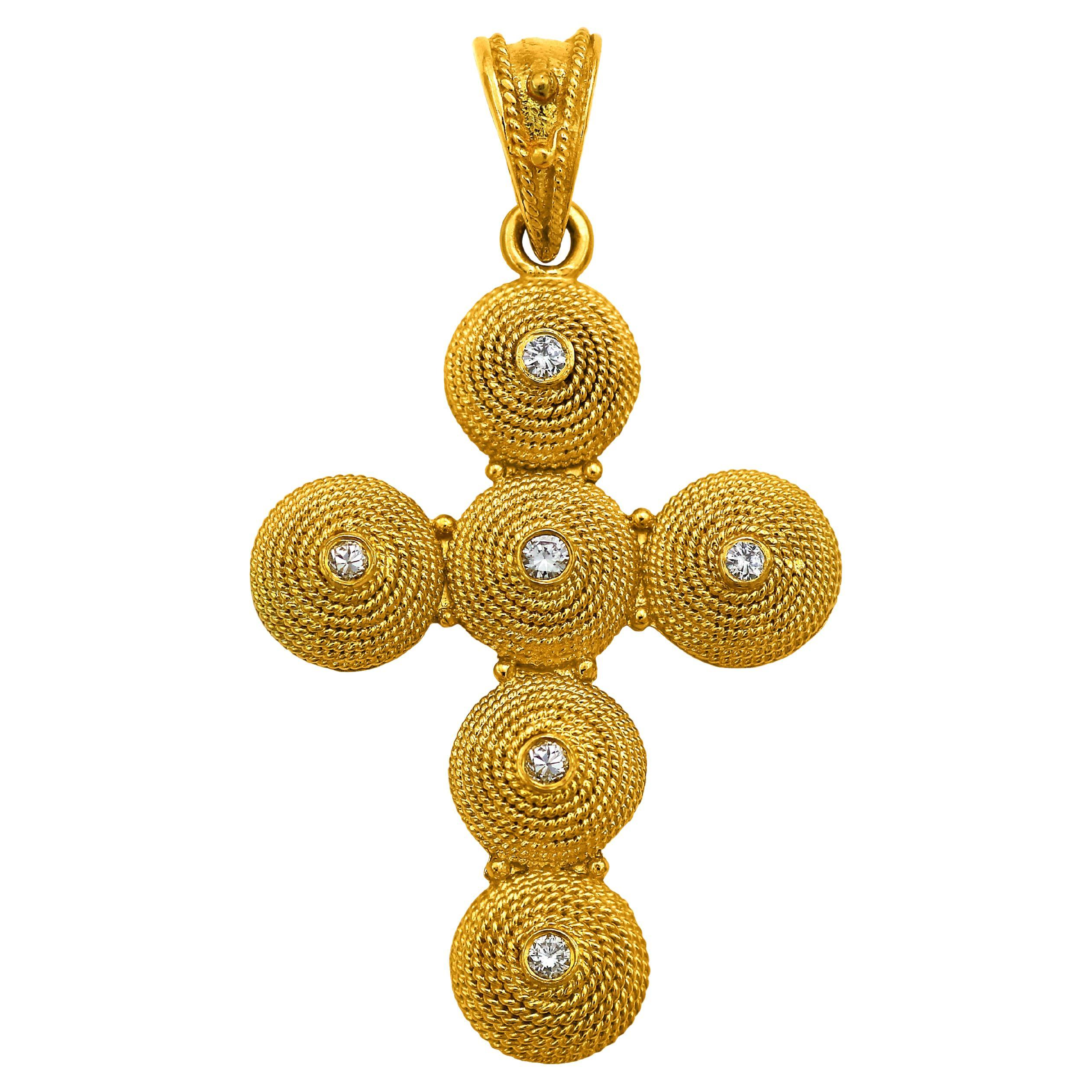 Dimos 18k Gold Filigree Cross Pendant with Diamonds