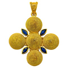 Dimos 18k Gold Filigree Cross Pendant with Marquise Sapphires