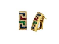 Dimos 18k Gold Greek Key Cocktail Earrings