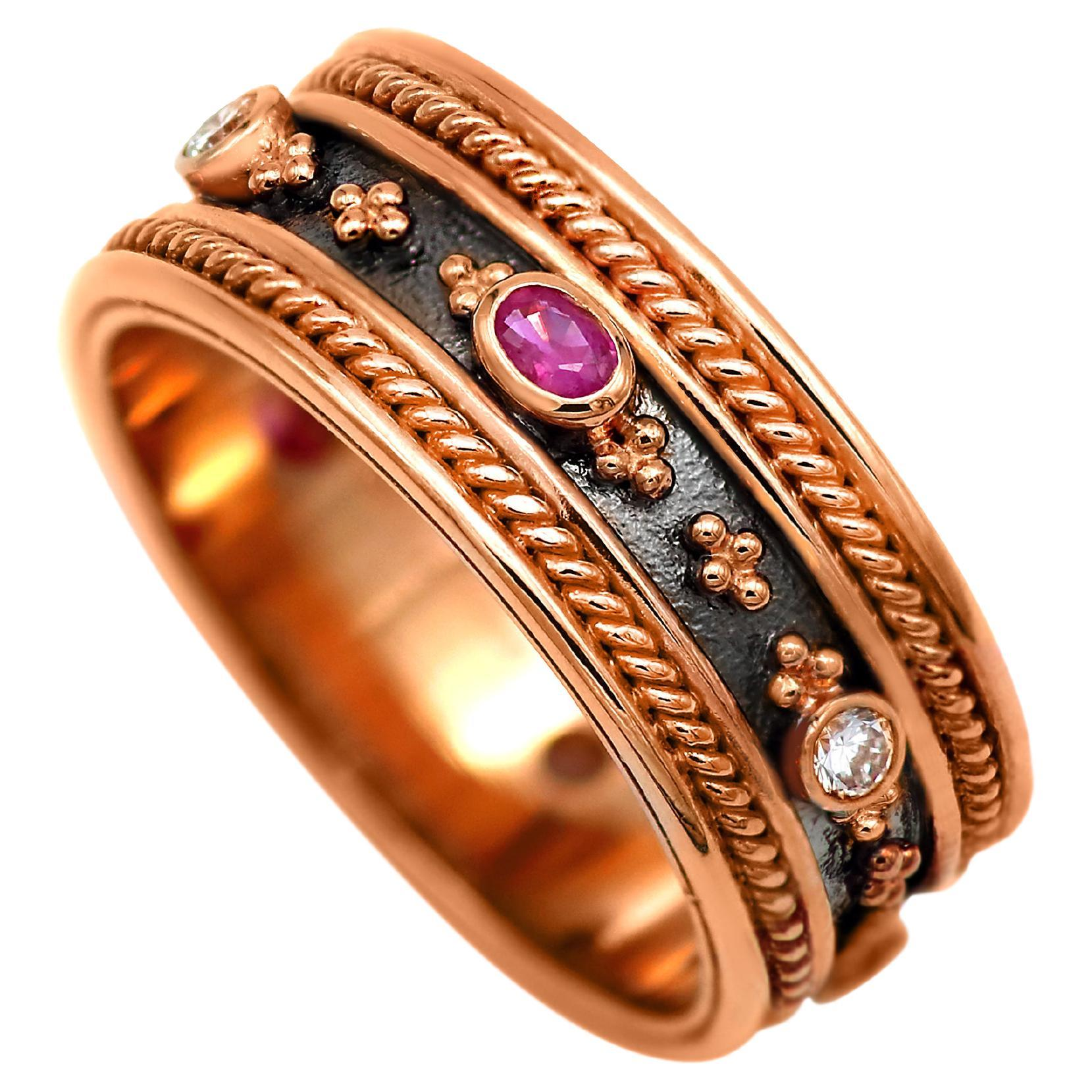 Dimos 18k Rose Gold Byzantine Inspired Band Ring with Rubies & Diamonds