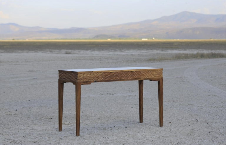 Dimple Front Console by Peter Glassford, Parota Wood and Brass Hardware 2