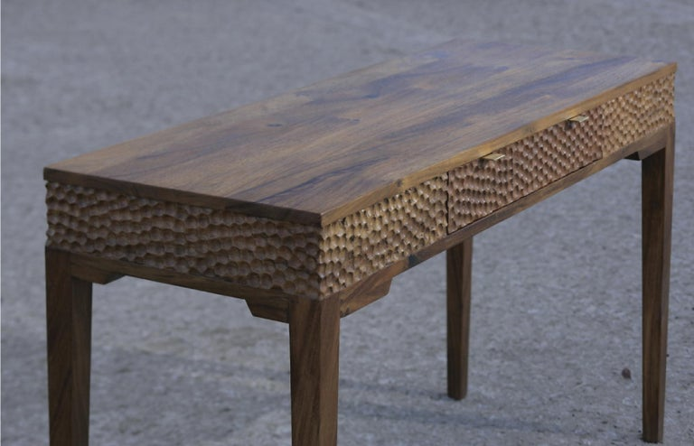 Dimple Front Console by Peter Glassford, Parota Wood and Brass Hardware 3