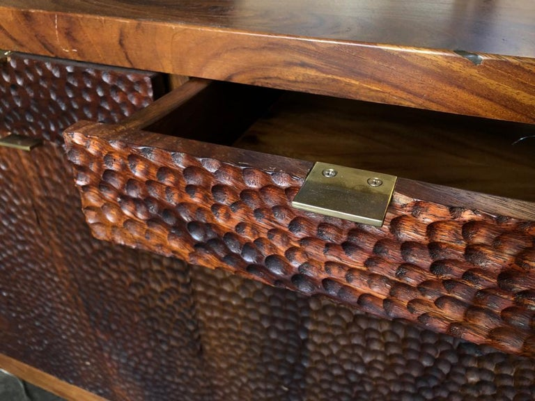 Dimple Front Console by Peter Glassford, Parota Wood and Brass Hardware 4