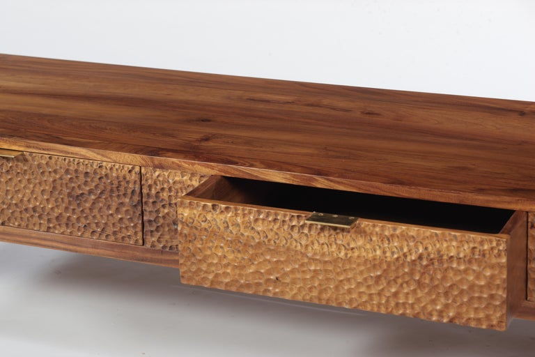 Dimple Front Console by Peter Glassford. Parota Wood and Brass Hardware. 4