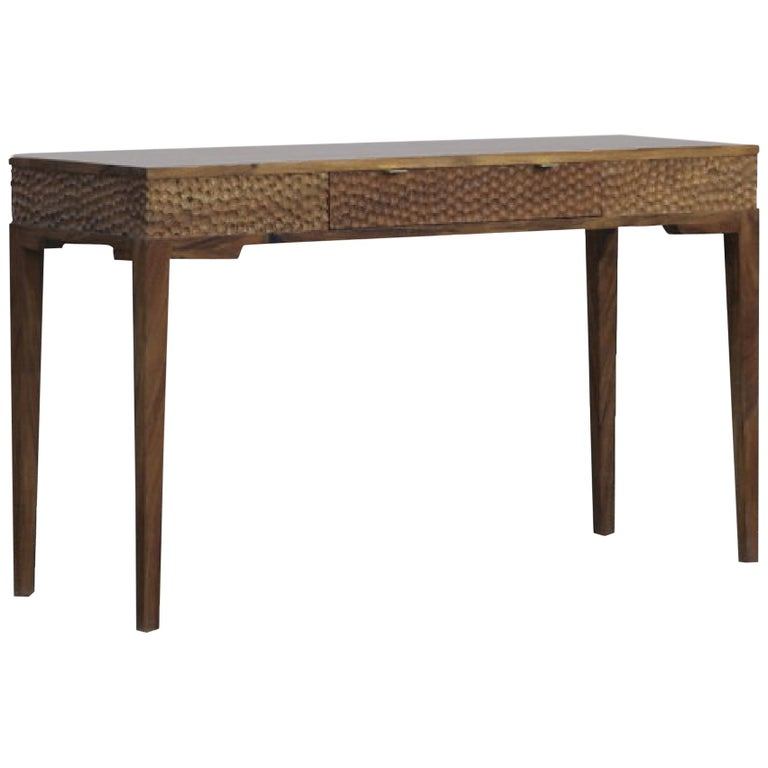 Dimple Front Console by Peter Glassford, Parota Wood and Brass Hardware 1